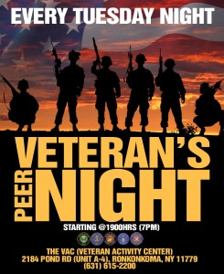 Veteran Peer Night - every Tuesday evening @ The VAC at Boots on the Ground NY | Ronkonkoma | New York | United States