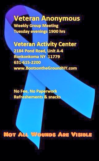 Veteran Peer Support Group every Tuesday night.