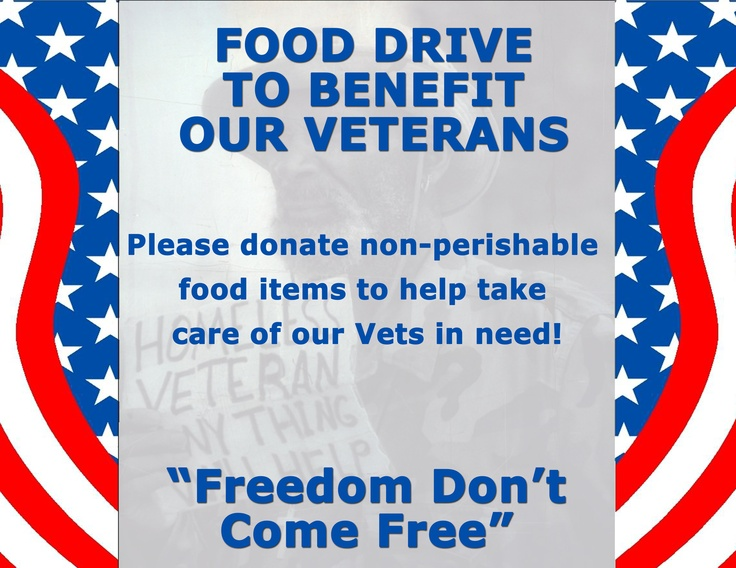 April Food Drive Collection for the Veteran Food Pantry.
