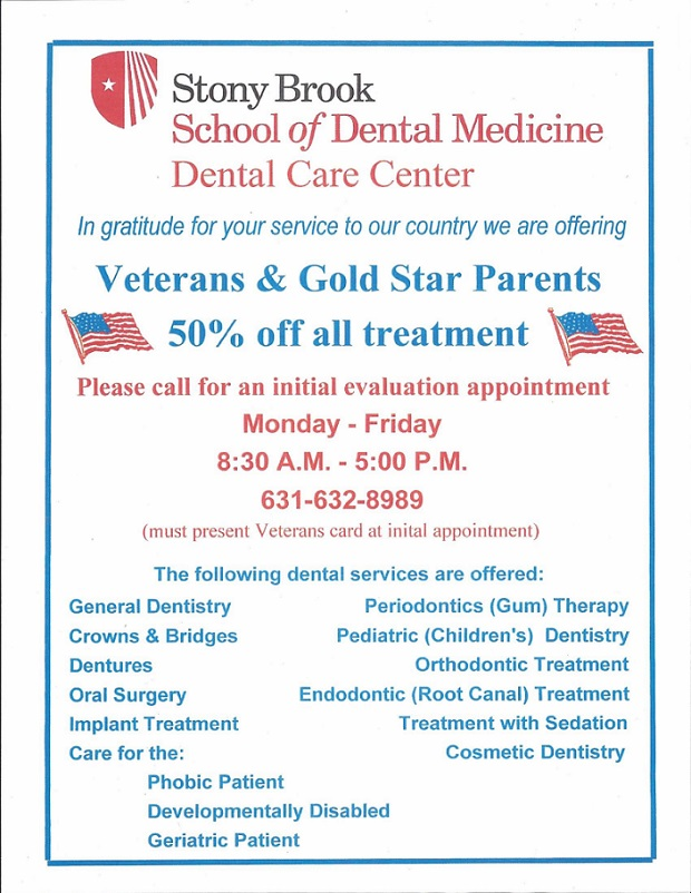 Dental Care for Veterans & Gold Star Parents.